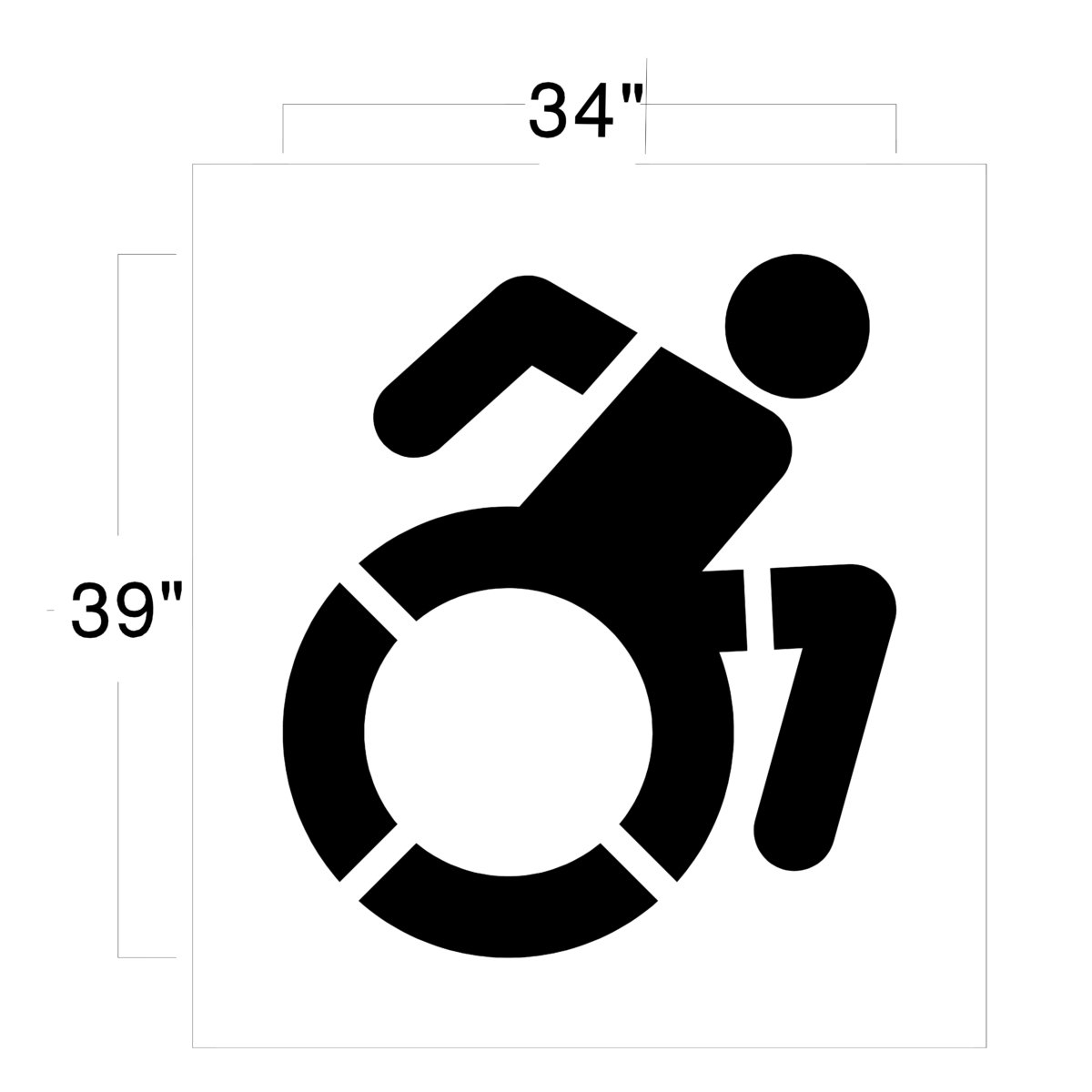 Accessible icon stencil for Handicap parking sign template