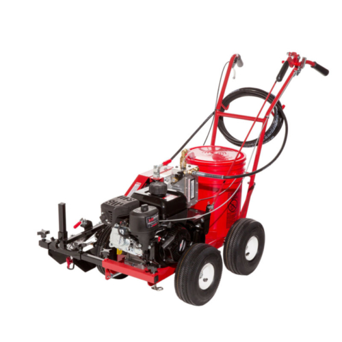 """The <strong style=""""````mso-bidi-font-weight: ``;"""">4600<span style=""""````font-size: ``;""""><sup>™</sup></span> SP Self-Propelled Airless Striping Machine </strong>features: <p style=""""````margin: ``;""""><strong>Straighter Lines –</strong> The 10 inch pneumatic balloontires and four wheel design provides straighter lines when striping <span style=""""````mso-spacerun: ``;""""></span>all surfaces, from smooth concrete to rough athletic fields.</p> <p style=""""````margin: ``;""""><strong>Brighter Lines -</strong> The fully adjustable, 0-3000 psi airless pump lets you control the perfect pressure to apply all paint, thinned or non-thinned. The result is a higher quality line without wasting paint. Plus, the hydraulic driven paint pump is non-pulsating so you get the best line edges possible. Say goodbye to ragged and scalloped edges common with pulsating piston pumps.</p> <p style=""""````margin: ``;""""><strong>No More Pushing –</strong> Get more done with less fatigue. The simple friction drives pulls the striper over uneven surfaces <span style=""""````mso-spacerun: ``;""""></span>and up inclines making the <strong style=""""````mso-bidi-font-weight: ``;"""">4600<span style=""""````font-size: ``;""""><sup>™</sup></span> SP </strong>the perfect paint striping machine to use all day. It`s unique, simple design is easy and inexpensive to maintain.</p> <p style=""""````margin: ``;""""><strong>Easy To Use –</strong> The airless pump pulls the paint directly from any standard 5-gallon pail. A universal lid snaps on any pail to prevent spills. A single lever easily engages the drive, and relieves operator fatigue when striping long lines on paved area or athletic fields.</p> <p style=""""````margin: ``;""""><strong>Easy Cleanup -</strong> Color changes and clean up can be done in less than five minutes. Simply remove the pail with unused striping paint, place a half filled pail of water or solvent (depending on the paint being used) on the striping machine and flush the system. Run the liquid pump protector through the system,"""