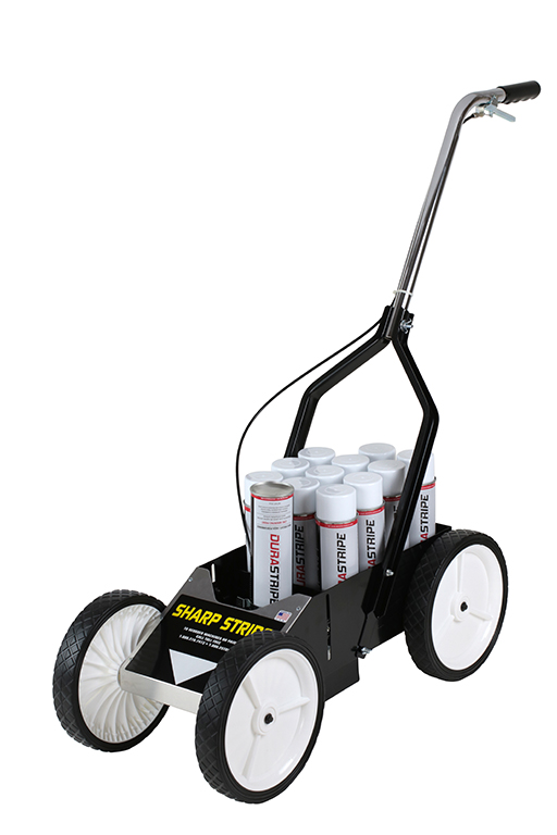 """Spraying your fields by hand can cause possible back injury and place you in close contact to paint fumes. The <span id=""""````spanProductDetailHeader````""""><span class=""""````text1````""""><b>Sharp Stripe™ </b>Aerosol Paint Striper allows you to quickly spray your fields without repeatedly bending over. All metal construction and 10 inch wheels, create a durable, steady, stripe marking machine that sprays straight lines and is easy to roll. </span></span> <span id=""""````spanProductDetailHeader````""""><span class=""""````text1````"""">The<b>Sharp Stripe™</b> Aerosol Paint Striping machine isfeatures<b>:</b></span></span> <strong>Controls –</strong> Adjustable tension spray cable to accommodate cans and tips of different types. <strong>Wheels –</strong> Four 10inch rubber wheels. The additional height makes it easier to roll in tall grass without getting caught in the blades. <strong>Paint capacity – </strong>1 can 90 degrees down in holder and stores 12 additional cans. <strong>Construction –</strong> All metal construction with folding handles make for easy storage and stable lines. It also features a protective skirt to prevent disturbance to the aerosol can spray pattern."""
