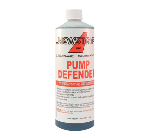 """Weatherizing your striperis an excellent way to protect your investment and a prevent costly damage and repairs.The <strong>Pump Defender </strong>will protect your airless spray pump from corrosion and rust in the summer, and prevent freezing while stored in the winter.<strong></strong> <strong>Summer</strong>: It is an anti-corrosive and anti-rust agent preventing premature wear and sticky seats. <strong>Winter:</strong> At 100% concentration, it is an anti-freeze protecting your airless pump during storage down to -30oF (-34oC) <ul> <li><strong>Environmentally friendly</strong></li> <li><strong>Non-flammable</strong></li> <li><strong>Minimal evaporation</strong></li> </ul> <p style=""""text-align: right;""""><em>Compatible with Campbell Hausfeld AL206100AV</em></p>"""