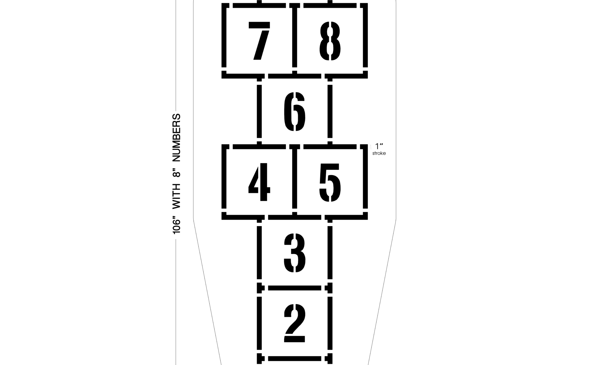 """Our<strong>Traditional Hopscotch Playground Stencil</strong> is easy to use, easy to clean andand wont blow away like cardboard stencil. This 2 piece set will produce a nice crisp line each time. Try our <a href=""""https://www.newstripe.com/product/arched_hopscotch_playground_stencil/"""">arched hopscotch template</a> to add more fun to your playground! <strong>1/8 inch </strong><strong> (125 mil)Lifetime Warranty</strong>"""