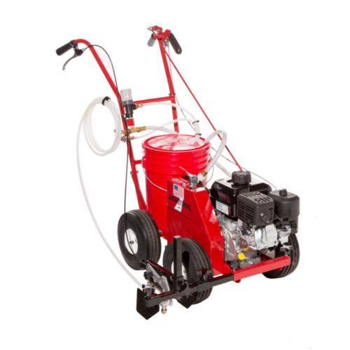 """The <strong>EcoLiner</strong><strong><span style=""""````font-size: ``;""""><sup>™</sup></span> SP Self-Propelled Field Striping Machine</strong> features: <p class=""""````MsoNormal````"""" style=""""````margin: ``;""""><strong>No Messy Pouring and Easy to Use -</strong> Just place a standard 5-gallon pail of premixed paint on the machine and you are ready to paint your field. Plus, changing color could not easier.</p> <p class=""""````MsoNormal````"""" style=""""````margin: ``;""""><strong>Safe -</strong> No hazardous pressurized tanks. No need to release pressure to add paint or clean this field painting equipment.</p> <p class=""""````MsoNormal````"""" style=""""````margin: ``;""""><strong>Cleanup is a Snap -</strong> When the job is done just remove the pail, reseal it for future use, pump a little clear water through the system of this field painting equipment, and you are ready for the next field marking job.</p> <p class=""""````MsoNormal````"""" style=""""````margin: ``;""""><strong>Never Stop to Stir the Paint Again -</strong> Recirculating pump keeps the paint continually mixed with no settling. You no longer need to stop and stir with this field painting equipment.</p> <p class=""""````MsoNormal````"""" style=""""````margin: ``;""""><strong>No More Clogged Tip or Filter -</strong> The <strong>EcoLiner</strong><strong><span style=""""````font-size: ``;""""><sup>™</sup></span> SP </strong>features a large replaceable foot filter on the intake hose. Cleaning the filter takes less than 30 seconds.</p> <p class=""""````MsoNormal````"""" style=""""````margin: ``;""""><strong>Power to Spare -</strong> The <strong>EcoLiner</strong><strong><span style=""""````font-size: ``;""""><sup>™</sup></span> SP </strong>features a heavy duty, 45 psi diaphragm pump coupled directly to aBriggs & Stratton engine with Oil Alert The simple friction drive system is foolproof and easy to maintain.</p> <p class=""""````MsoNormal````"""" style=""""````margin: ``;""""><strong>Versatile - </strong>Use the detachable spray gun on this field painting equipment with 12 foot hose to paint"""