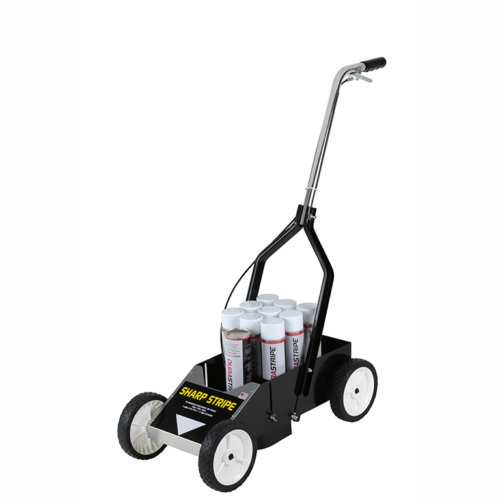 """The<strong>Sharp Stripe™</strong>is great for spray painting lines on parking lots, temporary parking areas, synthetic turf and warehouses. 8"""" wheels keep it low to the ground preventing the wind from disrupting the spray pattern. The<strong>Sharp Stripe™</strong>Aerosol Painting Striperfeatures: <strong>Controls -</strong> Easy hand operation and an adjustable tension spray cable to adjust to cans and tips of different types. <strong>Wheels -</strong> Four 8 inch rubber wheels. <strong>Paint capacity -</strong>Holds 1 can in the holder and an additional case of aerosol cans in storage area. <strong>Storage -</strong> All metal construction create a durable and sturdy machine which helps keep your lines steady. The folding handles make it easy to transport and store."""