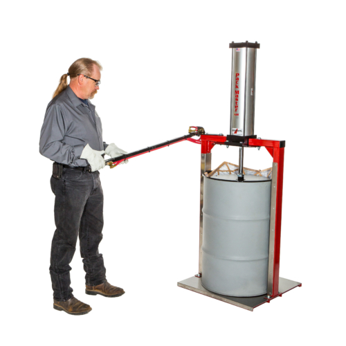 """<span class=""""````text1````"""">The <strong>Pack-Master™ Spark Resistant Air Powered Compactor</strong> is a heavy-duty trash compactor that features: </span> <span class=""""````text1````""""><b>Is Spark Resistant - </b></span><span class=""""````text1````"""">Contact surfaces are covered with spark resistant aluminum.</span> <span class=""""````text1````""""><b>Increases Recycling Revenue -</b></span><span class=""""````text1````""""><b> </b>Reduce your disposal and storage costs.</span> <span class=""""````text1````""""><b>Easy to Use -</b></span><span class=""""````text1````""""><b> </b>Simply place a drum of material on the case, lift arm and compact it by operating the joy stick on the arm.</span> <span class=""""````text1````""""><b>Safe - </b></span><span class=""""````text1````"""">Two-handed safety lever keeps the operator out of harms way.</span> <span class=""""````text1````""""><b>Fast - </b></span><span class=""""````text1````"""">Compaction cycle is just 30 seconds with 100 psi air supply.</span> <strong><span class=""""````text1````"""">Caution</span></strong><span class=""""````text1````"""">:</span><span class=""""````text1````""""> This wase compactor for sale is not designed for crushing of glass containers or items that may shatter or contain volatile vapors. The trash compactor for sale is not explosion proof.</span>"""