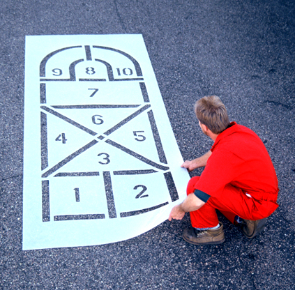 The<strong> Arched Hopscotch Playground Stencil </strong>is a great addition to the playful playground. This hopscotch template can help kids develop balance, body rhythm, build body strength, and eye/hand coordination. <ul> <li><strong>2 piece snap together set</strong></li> <li><strong>Easy to clean</strong></li> <li><strong>1/8 inch </strong><strong> (125 mil) <strong>Lifetime Warranty</strong></strong></li> </ul>