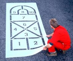 hop scotch parking lot stencil