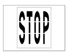 parking lot stencil stop lettering