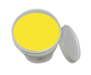 yellow striping paint in bucket