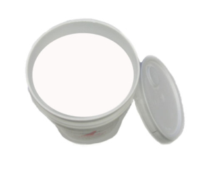 bucket of white athletic field paint
