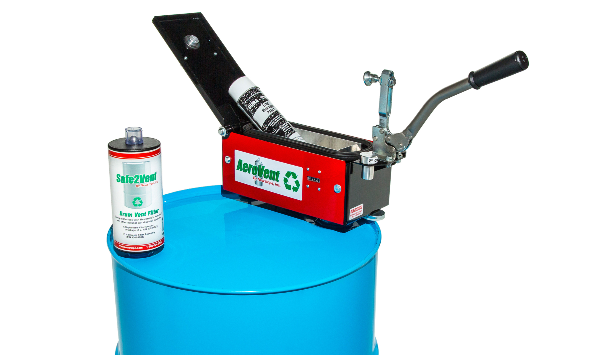 <strong>The AeroVent® 1X Single Aerosol Can Recycling Disposal System</strong> is a single can system which allows you to quickly puncture and drain aerosol spray cans to reduce the cost of hazardous waste. The cycle counter makes the process convenient by tracking the number of cans used so you don't have to guess when to change the filters. <strong>The AeroVent® 1X operation is as simple as One, Two, Three:</strong> <ol> <li>Just place an aerosol can in the AeroVent®1X and close the lid with the convenient handle/clamp. This automatically seals the chamber and punctures the aerosol can at the same time.</li> <li>Wait until the Safe2Vent<b>®</b> filter's Viz-a-Ball stops bouncing (usually 5-30 seconds). This indicates the system has been depressurized and is safe to open</li> <li>Open the lid and remove the cans. It is that simple! Now the aerosol can may be disposed of or sold as recyclable metal.</li> </ol> <strong>Cycle Counter–</strong>The cycle counter makes the process convenient by eliminating the need for manual counting and guessing when to change filters. The all new Cycle Counter automatically keeps track of the number of cans processed so you can easily identify when to change filters and schedule replacements. <strong></strong><strong>Versatile–</strong>Designed for the smaller waste generator, the<strong>AeroVent<em>®</em>1X</strong>has a unique tray design that accepts a variety of aerosol can sizes up to 3 inch diameter and 10 inch length with just the one tray. Quick change aluminum plugs in the lid are changed for different aerosolcan sizes making the<strong>AeroVent<em>®</em>1X</strong>a one-size-fits-all aerosol can disposal system. <strong>Exclusive Viz-a-Ball™ Indicator Check Valve–</strong>This revolutionary design serves two essential functions. First, it keeps the operator safe by indicating when the system is completely depressurized and can be opened. Second, the ball check valve complies with OSHA, EPA and California regulations requirin