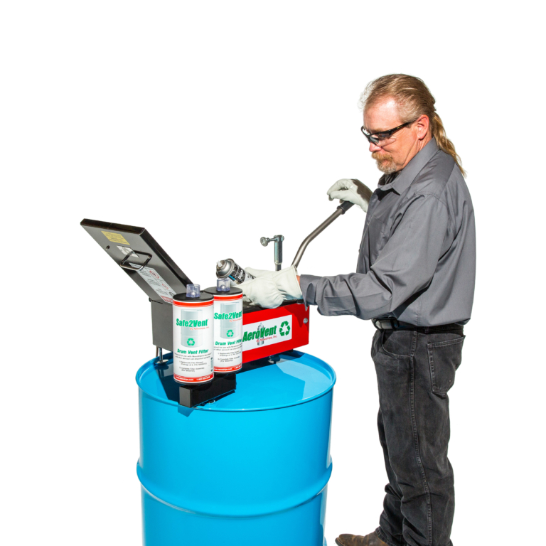 The<strong>AeroVent<em>®3</em>X Aerosol Can Disposal System</strong> has a unique tray design that accepts a variety of aerosol can sizes up to 3 inches in diameter and 10.5 inches in length. The quick change aluminum guides accommodate most sizes of aerosol cans making the AeroVent®3X a high production, one-size-fits-all disposal system. <strong>The AeroVent® 3X can disposal system operation is as simple as One, Two, Three:</strong> <ol> <li>Just place an aerosol can in the AeroVent®3X and close the lid with the convenient handle/clamp. This automatically seals the chamber and punctures the aerosol can at the same time.</li> <li>Wait until the Safe2Vent<b>®</b> filter's Viz-a-Ball stops bouncing (usually 5-30 seconds). This indicates the system has been depressurized and is safe to open</li> <li>Open the lid and remove the cans. It is that simple! Now the aerosol can may be disposed of or sold as recyclable metal.</li> </ol> <strong>Economical– </strong>The AeroVent®3X is a high production disposal system priced lower than many single can units. It is faster and processes up to three cans at a time. Plus, the Safe2Vent<b>®</b> filters have more carbon media and are more cost effective than any other drum vent filter. <strong>Exclusive Viz-a-Ball™ Indicator Check Valve–</strong>This revolutionary design serves two essential functions. First, it keeps the operator safe by indicating when the system is completely depressurized and can be opened. Second, the ball check valve complies with OSHA, EPA and California regulations requiring the drum to be closed and prevent vapors from escaping into the atmosphere after processing. The Safe2Vent<b>®</b> is the only drum vent filter that includes this important safety feature. <strong>Safe –</strong>The<strong>AeroVent's<em>®</em></strong>unique design makes it absolutely the safest aerosol can disposal system available. Absolute protection to the operator is achieved with a single stroke that first completely seals the chamb
