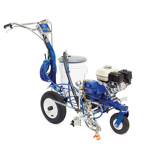 """The <strong>Graco LineLazer V 3400</strong> <strong>Airless Line Striper</strong> features: <strong>New Frame:</strong>Newly designed frame is 3 inch longer — adding stability and improved tracking which results in improved line quality <strong>Easy Reach Controls—</strong>Access the handle bar-mounted controls without stopping. <strong>Handle Bar Design—</strong>Redesigned for reduced vibration – greatly reducing operator fatigue <strong>Electronic Pressure Control—</strong>Accurate, tight tolerance system provides excellent line quality. <strong>Chromex Pump Rod—</strong>Long life rod treatment for the most demanding materials. <strong>Front Swivel Wheel—</strong>Provides easier """"up to the curb"""" striping and hard-to-do curves. <strong>Honda Engine—</strong>Excellent power and proven reliability. <strong>Endurance Paint Pump—</strong>Industry best performance and proven design with 25 years of success. <strong>Exclusive EasyOut Filter System—</strong>60 mesh filter for no plug performance. Inside-out filtering prevent clogs. Get started on painting fast with the included <a href=""""https://www.newstripe.com/product/parking-lot-starter-kit/"""" target=""""_blank"""" rel=""""noopener noreferrer"""">parking lot stencil kit</a>!"""