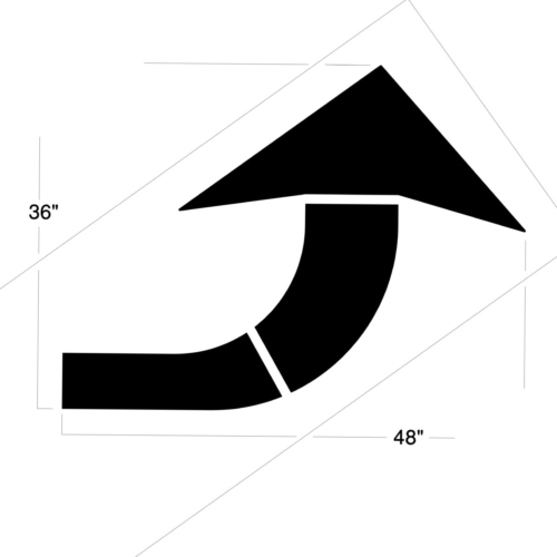 Guide and regulate thetraffic areasin your warehouse or parking lot with our heavy duty Curved Arrow Stencil. Made of our Polytough plastic, our Curved Arrow Stencils give you years of use witha crisp, clean, professional line each time. Available in the following options: <strong><u>1/8″ (125 mil) – Professional grade</u></strong> <ul> <li>The thickest and most durable stencil</li> <li>Will last a lifetime with proper care</li> <li>Ideal for repetitive daily use</li> <li>Can use high pressure hose for easy cleaning</li> <li><em>Lifetime warranty</em></li> </ul> <strong><u>1/16″(63mil) – Light-Duty</u></strong> <ul> <li>Economical and flexible</li> <li>Great for curves and uneven surfaces</li> <li>Perfect for one time projects or occasional use</li> </ul>