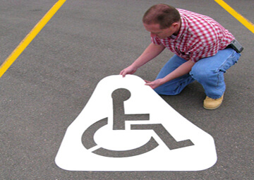 """Newstripe's Handicap Symbol stencil is ideal for identifying your accessible parkingspaces. Made from our durable <strong>PolyTough™</strong> plastic, it isdesigned for repeated daily use. <ul> <li><strong>Easy cleanup.</strong>Paintcan be washed off usinga sprayer. Or once dry you can bend the stenciland thepaint willcrack, flake, and peel right off.</li> <li><strong>Paint your way</strong>. Paint can be applied with aerosolspray cans, spray equipment, or brushes.</li> <li><strong>Long Lasting.</strong>Polyethylene stencils last longer than other stencil material and does not absorb paint.</li> </ul> This handicap parking template is available in the following options: <strong><u>1/8″ (125mil) – Professional Grade</u></strong> <ul> <li>The thickest and most durable stencil</li> <li>Will last a lifetime with proper care</li> <li>Ideal for repetitive daily use</li> <li>Can use high pressure hose for easy cleaning</li> <li><span style=""""color: #ff0000;""""><strong><em>Lifetime warranty</em></strong></span></li> </ul> <strong><u>1/16″(63mil) – Light-Duty</u></strong> <ul> <li>Economical and flexible</li> <li>Great for curves and uneven surfaces</li> <li>Perfect for one time projects or occasional use</li> </ul>"""