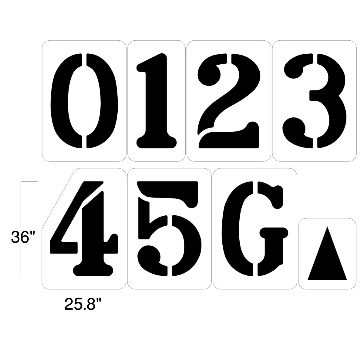Our 6 foot Football Field number stencil is ideal for painting yardage numbers on your football field. Each football field stencil kit Set includes 0 thru 5, G, and one directional arrow. <hr /> <strong>Easy to use:</strong> Just lay stencil on the field and apply paint <strong>Built to last:</strong>Theseindustrial-strength stencils aredurable and dependable, providing years of use. <strong>Easy to clean:</strong> Dried paint can easily be removed with a scraperor pressure hose. <strong><u>1/8″ (125mil) – Professional grade</u></strong> <ul> <li>The thickest and most durable stencil</li> <li>Will last a lifetime with proper care</li> <li>Ideal for repetitive daily use</li> <li>Can use high pressure hose for easy cleaning</li> <li><em>Lifetime warranty</em></li> </ul> <strong><u>1/16″(63mil) – Light-Duty</u></strong> <ul> <li>Economical and flexible</li> <li>Great for curves and uneven surfaces</li> <li>Perfect for one time projects or occasional use</li> </ul>