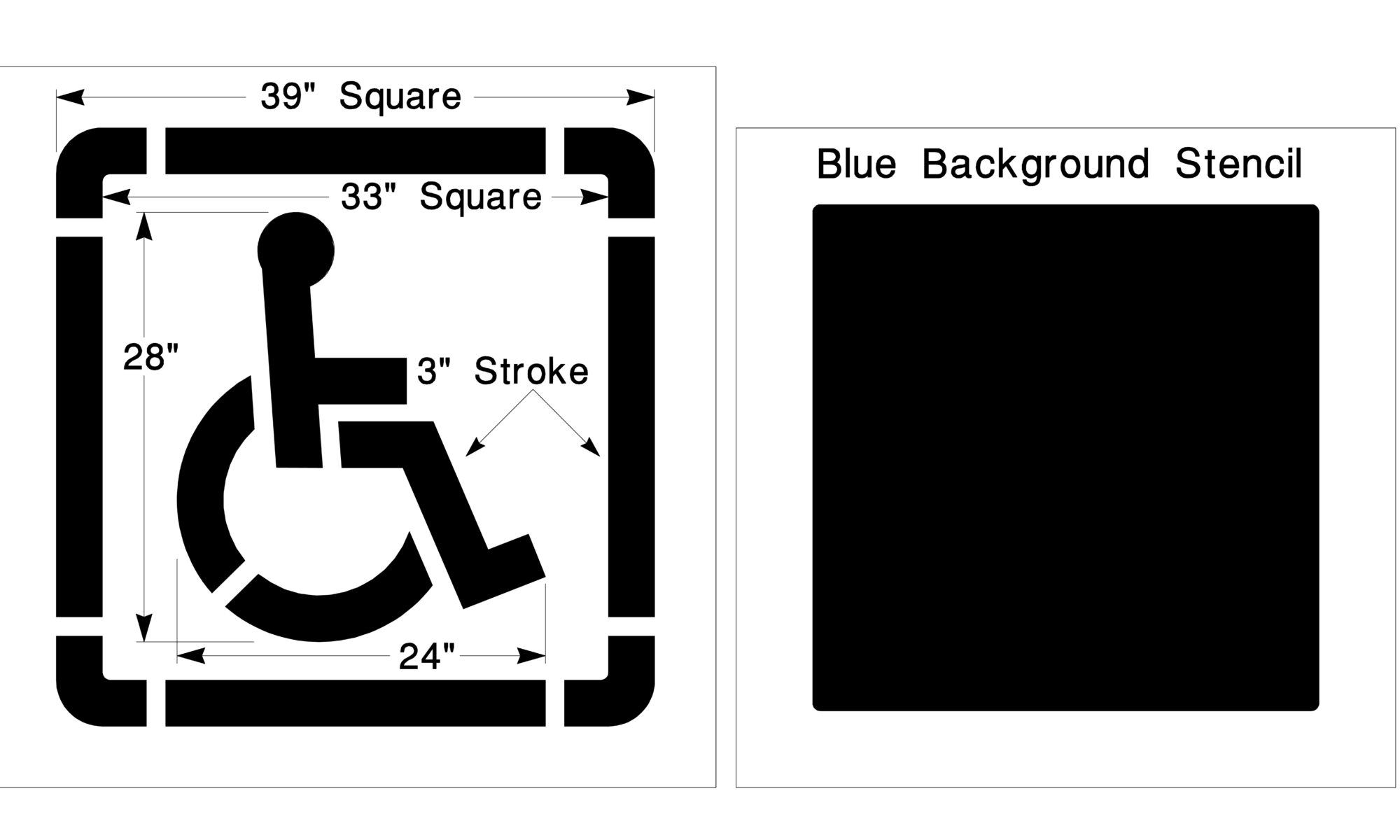 Handicap parking lot stencil handicap parking striping for Handicap parking sign template