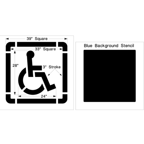 """Ensure your parking lot, stadium, and aisles are compliant by marking them with our Federal handicap parking stencil. Made from our durable <strong>PolyTough™</strong> plastic they are built to last for years. <h4><strong>Choose size and thickness</strong></h4> Small - Two (2) piece set Large - Five (5) piece set 1/16"""" (63mil) 1/8"""" (125mil) Lifetime warranty"""