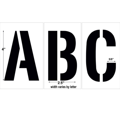 """Our <strong>Complete Alphabet Kit</strong>allows you to create numerous word combinations! Quickly and easily mark your parking lot spaces, containers, buildings and more. Just choose your letters, lie them down and spray. Or use with the <a href=""""http://stencil trac"""" target=""""_blank"""" rel=""""noopener noreferrer"""">Stencil Trac</a> to keep numbers in place. Each kit is made from our PolyTough plastic so the are durable, easy to clean and ready for repeated use. Available in a variety of sizes and thickness.<em>Helvetica Bold Condensed is the default font. All letters are CAPITAL.</em> <strong><u>1/8″ (125mil) – Professional grade</u></strong> <ul> <li>The thickest and most durable stencil</li> <li>Will last a lifetime with proper care</li> <li>Ideal for repetitive daily use</li> <li>Can use high pressure hose for easy cleaning</li> <li><em>Lifetime warranty</em></li> </ul> <strong><u>1/16″(63mil) – Light-Duty</u></strong> <ul> <li>Economical and flexible</li> <li>Great for curves and uneven surfaces</li> <li>Perfect for occasional or light use</li> </ul> Don't need the full alphabet? Check out our <a href=""""https://www.newstripe.com/product/individual-letters-and-numbers"""">Individual letters and numbers!</a>"""