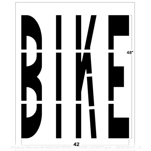 """Use our 48"""" Federal BIKE stencil to clearly mark lanes for bicyclist with the word BIKE. Each stencil is made of our thick, durable PolyTough™ plastic and meets Federal and DOT specifications. Use over and over again with a crisp clean line every time.Pairs well with our federal <a href=""""https://www.newstripe.com/product/48-inch-federal-lane/"""">lane road safety sign</a>. For an image to go along with this bike lane stencil, check out our<span style=""""color: #ff0000;""""><a style=""""color: #ff0000;"""" href=""""https://www.newstripe.com/product/federal-bike-with-helmet-symbol/"""" target=""""_blank"""" rel=""""noopener noreferrer"""">bicycle stencil template</a></span>. <strong><u>1/8″ (125mil) – Professional grade</u></strong> <ul> <li>The thickest and most durable stencil</li> <li>Will last a lifetime with proper care</li> <li>Ideal for repetitive daily use</li> <li>Can use high pressure hose for easy cleaning</li> <li>Lays flat and stays flat</li> <li><em>Lifetime warranty</em></li> </ul> <strong><u>1/16″(63mil) – Light-Duty</u></strong> <ul> <li>Economical and flexible</li> <li>Easy to clean</li> <li>Great for curves and uneven surfaces</li> <li>Perfect for one time projects or occasional use</li> </ul>"""