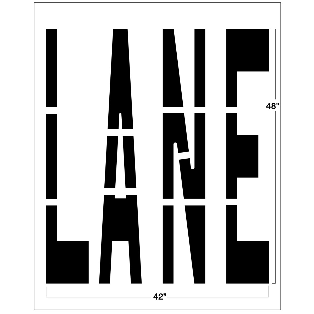 """Our 48"""" Federal LANE Symbol stencil can be used to mark bike lanes, HOV lanes and other specialized lanes . Each road marking stencil is made of our thick, durable PolyTough™ plastic and meets Federal and DOT specifications.Use this lane road safety sign over and over again with a crisp clean line every time.Pairs well with our <a href=""""https://www.newstripe.com/product/48-inch-federal-bike/"""">federal bike stencil</a>. <strong><u>1/8″ (125mil) – Professional grade</u></strong> <ul> <li>The thickest and most durable stencil</li> <li>Will last a lifetime with proper care</li> <li>Ideal for repetitive daily use</li> <li>Can use high pressure hose for easy cleaning</li> <li>Lays flat and stays flat</li> <li><em>Lifetime warranty</em></li> </ul> <strong><u>1/16″(63mil) – Light-Duty</u></strong> <ul> <li>Economical and flexible</li> <li>Easy to clean</li> <li>Great for curves and uneven surfaces</li> <li>Perfect for one time projects or occasional use</li> </ul>"""