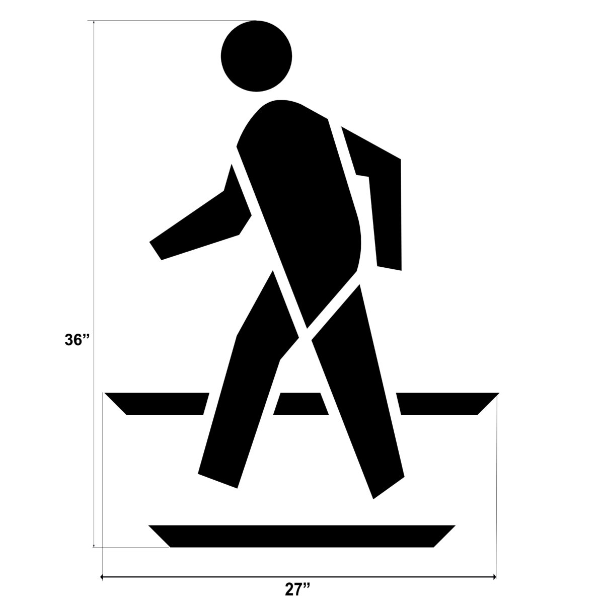 """Clearly mark pedestrian crossing areas with ourFederal Pedestrian Symbol. Each stencil is made of our thick, durable PolyTough™ plastic and meets Federal and DOT specifications. Use over and over again with a crisp clean line every time.Don't forget to check out our <a href=""""https://www.newstripe.com/product/federal-bicycle-symbol/"""">federal bike lane stencil</a>. <strong><u>1/8″ (125mil) – Professional grade</u></strong> <ul> <li>The thickest and most durable stencil</li> <li>Will last a lifetime with proper care</li> <li>Ideal for repetitive daily use</li> <li>Can use high pressure hose for easy cleaning</li> <li>Lays flat and stays flat</li> <li><span style=""""color: #000000;""""><em>Lifetime warranty</em></span></li> </ul> <strong><u>1/16″(63mil) – Light-Duty</u></strong> <ul> <li>Economical and flexible</li> <li>Easy to clean</li> <li>Great for curves and uneven surfaces</li> <li>Perfect for one time projects or occasional use</li> </ul>"""