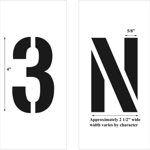 """Choose the characters and sizes you needwith our <strong>Individual Letters & Numbers stencils</strong>. Options include Letters: A-Z, Numbers: 0-9 and Characters: . - ? ! & (other characters available -please call) Use our <a href=""""https://www.newstripe.com/product/stencil_trac"""">stencil trac</a> to keep your stencils in place. <strong><u>1/8″ (125mil) – Professional grade</u></strong> <ul> <li>The thickest and most durable stencil</li> <li>Will last a lifetime with proper care</li> <li>Ideal for repetitive daily use</li> <li>Can use high pressure hose for easy cleaning</li> <li><em>Lifetime warranty</em></li> </ul> <strong><u>1/16″(63mil) – Light-Duty</u></strong> <ul> <li>Economical and flexible</li> <li>Great for curves and uneven surfaces</li> <li>Perfect for one time projects or occasional use</li> </ul>"""