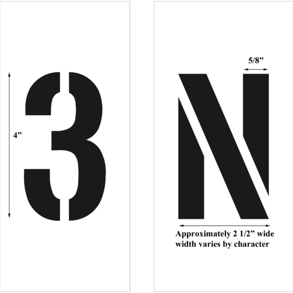 4in-individual letters and numbers