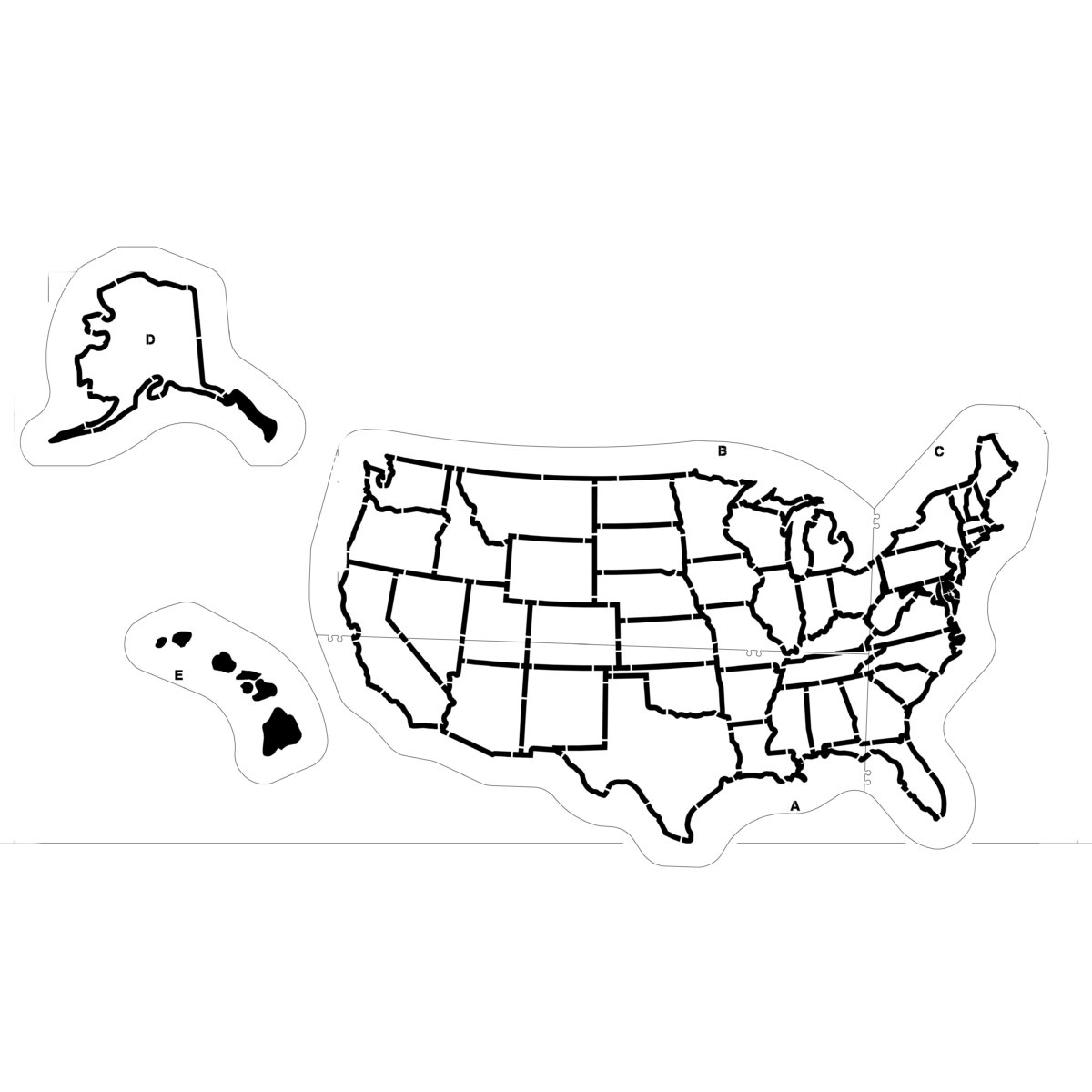 Increase your students interest and knowledge in geography with our durable <strong>US Map Playground Stencil</strong>. Unlike paper stencils or thin plastic, our stencils won't rip, crack, or blow away. Stencils lay flat and stay flat, requiring no taping or weights. Made of our 1/8 inch (125 mil)<strong> Polythough™</strong> plastic they are the most durable in the industry.With proper care your stencil will last a lifetime. In fact, we guarantee it with our Lifetime guarantee. <ul> <li>Easy to Use</li> <li>Specifically designed for repeated use</li> <li>Ideally suited for use on asphalt or concrete surfaces</li> <li><strong><strong>Lifetime Warranty</strong></strong></li> </ul>