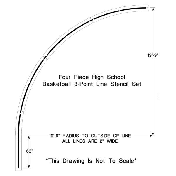High School 3 Point line stencil