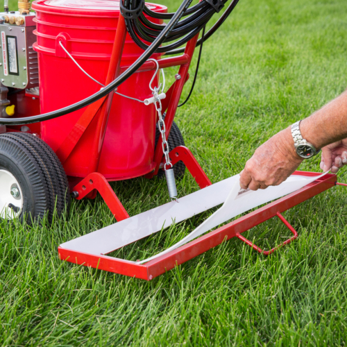 The all new <strong>HashMark Paint and Go™</strong> is a rear mounted flip up hash mark stencil.It easily attaches to all Newstripe walk behind stripers with a hand gun. One person can quickly and easily paint your football field's hash marks in half the time of traditional methods. This football field line marker saves you time and labor, quickly paying for itself after the first use. The Newstripe HASHMARK-MASTERand Paint and GO is protected by U.S. patent # 7,367,515 B1