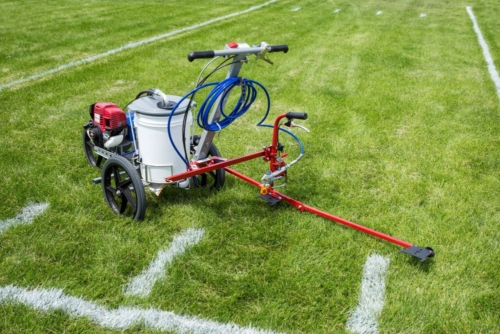 The <strong>HASHMARK-MASTER ™ S100</strong> athletic field paint machine eliminates repeated measuring or using stencils and templates that require a two or three man crew. You can easily paint hash marks up to 8 times faster than other methods when using your <strong>Graco FieldLazer S100.</strong> The operator follows the automatic measuring guide from one hash mark to the next, paints it and moves on. It is that simple. Your hash marks will be perfectly laid out and painted every time. The <strong>HASHMARK-MASTER</strong><b>™</b> <strong>Graco S100</strong> saves time and money, easily paying for itself during the first football season. <strong>Fast:</strong>Easily paint hash marks five times faster than other methods. No need to stop and measure or drag heavy, paint soaked, templates from one spot to the next. <strong>Save Time and Money:</strong> The <strong>HASHMARK-MASTER ™</strong><b></b>eliminates the need for repeated measuringorusing stencils and templates that require a two or three man crew. One person can do the work of two or three in a fraction of the time. <strong>Convenient: </strong>It quickly attaches tothe <strong>Graco S100</strong> so you can seamlessly paint your field and hash lines.<strong>**</strong> Plus, The <strong>HASHMARK-MASTER™</strong><b></b>uses the striper's own spray gun so there is no need for additional tools or accessories. The Newstripe hash mark field line painter is protected by U.S. patent # 7,367,515 B1