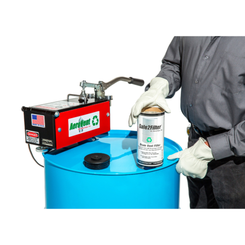 """Have the older model of the AeroVent™ or a competitor aerosol can disposal system? Upgrade to the Safe2Vent™ and get more carbon and 50 state compliance. Assembly includes<span style=""""font-size: 1rem;"""">replaceable</span><span style=""""font-size: 1rem;"""">cartridge and</span><span style=""""font-size: 1rem;"""">the base allowing the filter to fit on a standard size drum bung hole. </span> The<b> Safe2Filter</b><b>™ Single Filter Assembly </b>features: <strong>Universal Design:</strong> The <strong>Safe2Filter™</strong> drum vent filter is compatible with all manual, single can aerosol can disposal systems. The reusable base is made to fit the 3/4 inch opening on any steel drum.<b></b> <strong>Check Valve:</strong> The <strong>Safe2Filter™</strong> check valve closes the filter outlet preventing vapors from escaping into the atmosphere. The AeroVent lid also needs to be closed for compliance. <strong>Environmentally Friendly:</strong>The<strong>Safe2Filter™</strong>contains more carbon than many other filters on the market. The environmentally friendly cellulose construction is 96% biodegradableand can be safely be sent directly to the landfill and decomposes naturally. As a bonus, each replaceable filter includes acoalescing element for convenient and safe handling. <b>Compliant in all 50 states: </b>With it's closing check valve the<strong>Safe2Filter™</strong> is compliant in all 50 states and conforms to OSHA, EPA and California SB1158 regulations. <strong>Fully replaceable</strong>. Just remove the filter cartridge from the reusable base and replace with the new cartridge. <em>Patent Pending</em>"""