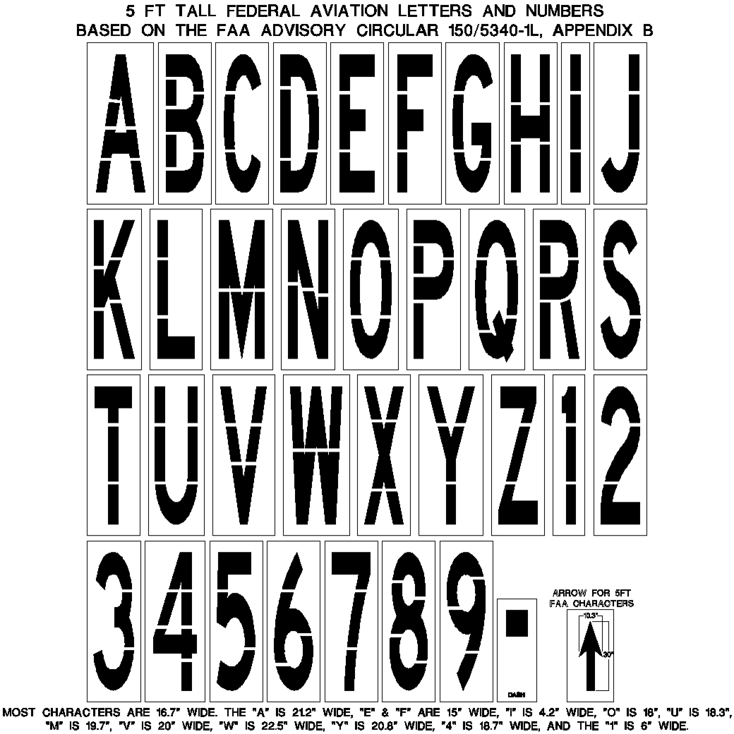 photograph regarding Printable Letters and Numbers identified as 5 Foot FAA Letters, quantities, sprint and arrows