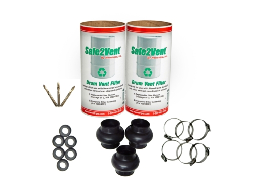 The <strong>AeroVent</strong><strong><em>®</em> 3 Mainentance Kit</strong>comes with the most common parts and accessories needed to service and maintain your aerosol can disposal unit. Kit includes: 1- 10004703, 2 Pack of Safe2Vent Filter Replacements 6- 10001874, Trough Liner Grommet 3- 10003791, Bellows 6- 10003794, Bellows Clamps 1- 10004025, 3 Pack of Cobalt Points