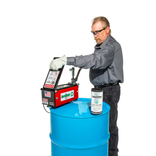 """The <strong>AeroVent STANDARD</strong>Aerosol Can Disposal System converts your hazardous waste aerosol cans into non-hazardous scrap metal with just one stroke. <b>Safe - </b>The completely enclosed chamber protects the operator when puncturing and draining. <strong>Easy to Use-</strong>A built-in check valve on the filter closes the drum after processing. <b>Versatile</b><b> - </b>Process a variety of aerosol can sizes for 2""""-3"""" diameter and up to 10.5"""" in length. <b>Extended Filter Life -</b><b></b>Built-in coalescing element removes liquids to extend filter life <strong>This aerosol can puncture device is EPA, RCRA, OSHA and California compliant</strong>"""