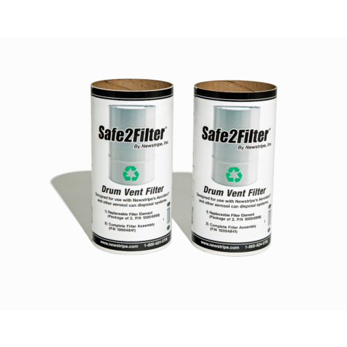 The<b> Safe2Filter</b><b>™ Replacement Filter Cartridge</b>is a 2 pack unit of replacement cartridges for the <strong>AeroVent Standard</strong>.: Simply remove the old filter from the base, remove the top lid and replace with the new filter. <strong>Environmentally Friendly:</strong>The<strong>Safe2Filter™</strong>contains more carbon than many other filters on the market. The environmentally friendly cellulose construction is 96% biodegradableand can be safely be sent directly to the landfill and decomposes naturally. As a bonus, each replaceable filter includes acoalescing element for convenient and safe handling. <b>Compliant in all 50 states: </b>With it's closing check valve the<strong>Safe2Filter™</strong> is compliant in all 50 states and conforms to OSHA, EPA and California SB1158 regulations. <strong>Fully replaceable</strong>. Just remove the filter cartridge from the reusable base and replace with the new aerosol can crusher filter cartridge. <em>Patent Pending</em>