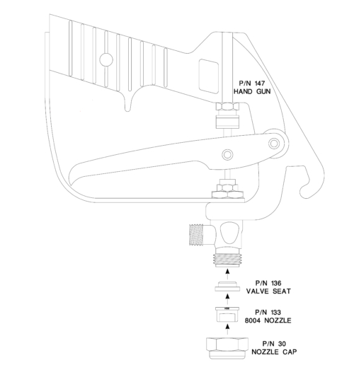 Completespray gun assembly for use with the Ecoliner II and SP model airless striping machines. Includes: <ul> <li>1 P/N 10000147, Hand gun **WITH HANDLE DRILLED in the LP Handgun rilling jig.**</li> <li>1 P/N 10000136, Valve Seat (Included With Gun)</li> <li>1 P/N 10000133, 8004 Nozzle</li> <li>1 P/N 10000030, Nozzle Cap (Included With Gun)</li> </ul>