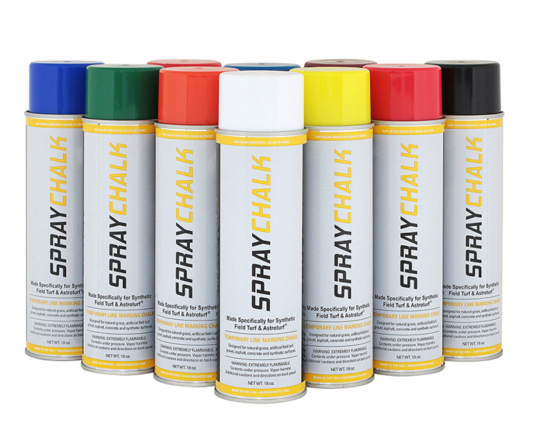 """Do youneedtemporary removable lines orartwork?<strong>Aerosol Striping Chalk</strong> lets you create crisp and colorful lines, logos, mascots, signage, and markings thatcan be quickly and easily removed. Let it wear offnaturally or remove it manually with a brush or soapy water. <strong>Aerosol Striping Chalk </strong>iseconomically friendly, water-based and can be safely used on most surfaces.Ideal for use on synthetic turf, infields, concrete, grass,asphalt, and roads. Theuniversal """" T"""" tips fits our <a href=""""https://www.newstripe.com/product/newaero_aerosol_field_paint_striper"""">NewAero</a>, <a href=""""https://www.newstripe.com/product/hand_wand"""">Hand Wand</a>, andmost other aerosol spray machines. <ul> <li>Empties completely without clogging</li> <li>No harsh removers needed</li> <li>Removes completely from synthetic turf, no ghosting.</li> <li>Easy to apply- Easy to clean</li> <li>Sprays 2to 4 inch wide line.</li> </ul> Case of 12 (18 oz aerosol cans). Coverage up to 250 feet per can. <strong>This temporary asphalt paint is not available for shipping to HI, AK and PR</strong> <strong></strong>"""