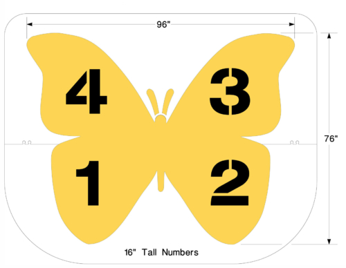 This updated Four Square stencil adds color and character to the traditional playground game. The wings represent the four quadrants. <strong>1/8 inch </strong><strong> (125 mil) <strong>Lifetime Warranty</strong></strong>