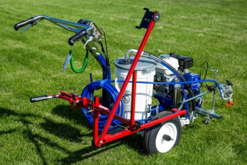 The <strong>HASHMARK-MASTER ™ 3400</strong>athletic field paint machine eliminates repeated measuring or using stencils and templates that require a two or three man crew. You can easily paint hash marks up to 8 times faster than other methods when using your <strong>Graco LineLazer 3400.</strong> The operator follows the automatic measuring guide from one hash mark to the next, paints it and moves on. It is that simple. Your hash marks will be perfectly laid out and painted every time. The <strong>HASHMARK-MASTER</strong><b>™</b> <strong>3400 </strong>saves time and money, easily paying for itself during the first football season. <strong>Fast:</strong>Easily paint hash marks five times faster than other methods. No need to stop and measure or drag heavy, paint soaked, templates from one spot to the next. <strong>Save Time and Money:</strong> The <strong>HASHMARK-MASTER ™</strong><b></b>eliminates the need for repeated measuringorusing stencils and templates that require a two or three man crew. One person can do the work of two or three in a fraction of the time. <strong>Convenient: </strong>It quickly attaches tothe <strong>Graco 3400 </strong>so you can seamlessly paint your field and hash lines.<strong>**</strong> Plus, The <strong>HASHMARK-MASTER™</strong><b></b>uses the striper's own spray gun so there is no need for additional tools or accessories. The Newstripe hash mark field line painter is protected by U.S. patent # 7,367,515 B1