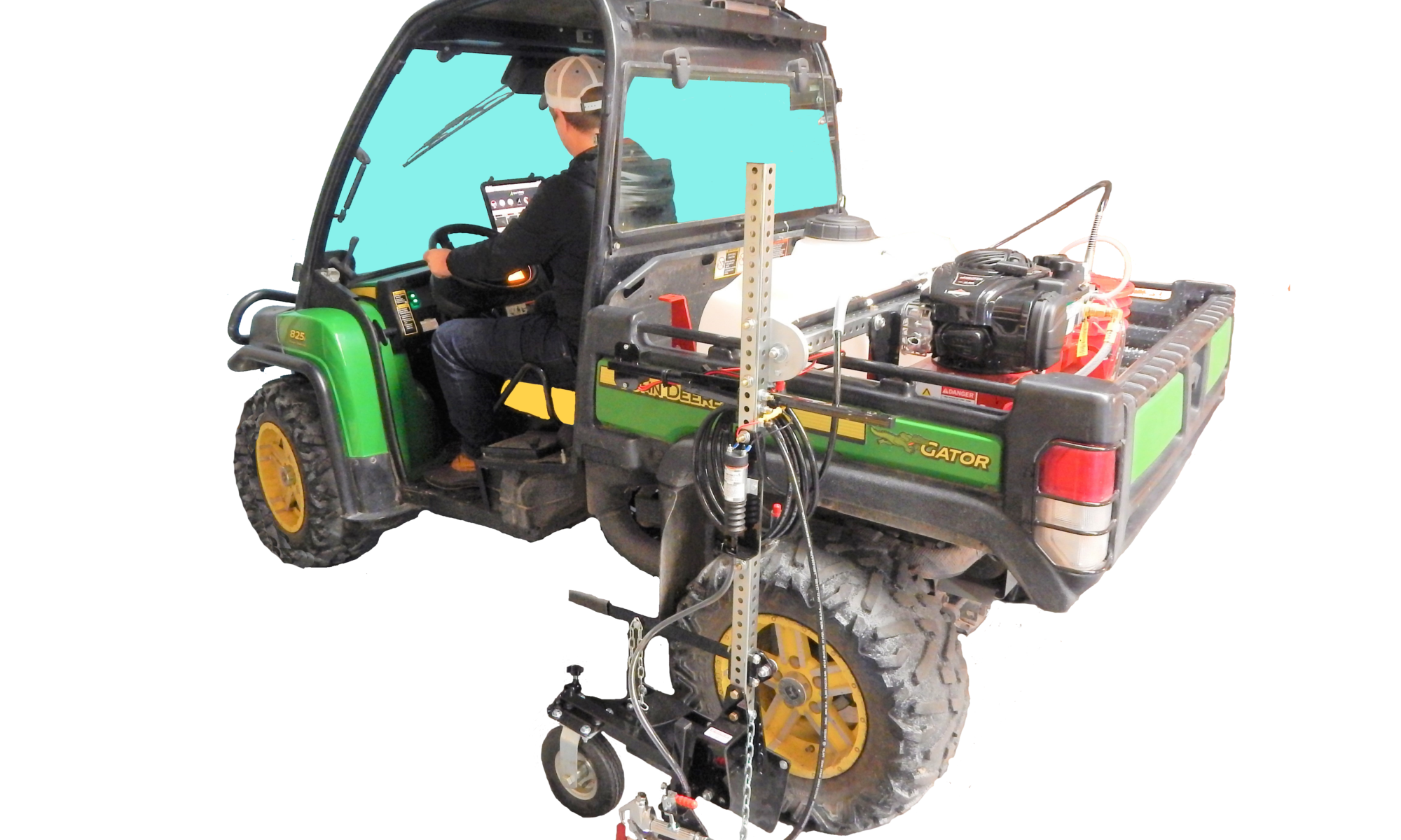 """This robust painting system has features unmatched by Robots or other GPS striping machines system including: <strong>Fits on most popular UTVs – </strong>Two seater UTV with open wagon bed including John Deere, Kabota, Ranger and others. <strong>Fast – </strong>Paint at speeds up to 9 mph (Robot stripers paint at speeds of about 2 mph and manual walk behind and riding stripers speeds range from 2-4 mph). <strong>Fewer Stops –</strong> The total paint capacity is thirty gallons. The25 gallon main paint tank lets you stripe miles of line before refilling. Alternately, use the super convenient five gallon pail option on smaller jobs such as a single field or quickly changing to a second color. <strong>Adjustable Spray System –</strong> 0-3000 psi paint pump allow you to select the perfect pressure to apply your paint. Plus, it lets you dial in the spray so you stripe """"just the turf"""" without wasting paint, injecting the soil, or disturbing the rubber filling. <strong>Reduce Paint Budget –</strong> No expensive, exclusive, special paint required. Works with any brand of field marking paint. Thick paint, thinned paint, temporary paint. <strong>Consistent High Quality Line – </strong>Gun mounts close to pivot wheel improving controllability and the floating swivel caster allows it to follow ground contours while maintaining line width for more consistent lines over rough terrain. <strong>Versatile –</strong>A quick release clamp allows you to remove the spray gun to spray stencils, small curves and hard to reach areas with a 25 foot length hose. <strong>Bomb Proof, Durable Design – </strong>This machine is designed for real time hard work. Welded steel chassis, heavy duty, and commercial components. Backed by an eighteen month warranty."""